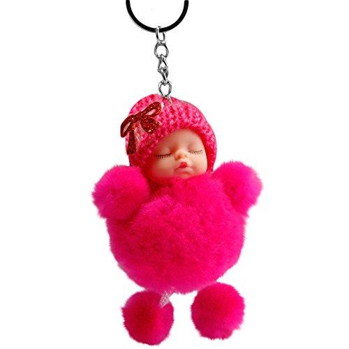 Quaan Niedliche schlafende Babyfliege Flauschige Pompon Pelz Plüsch Puppe Keychain Keyring Schlüsselanhänger