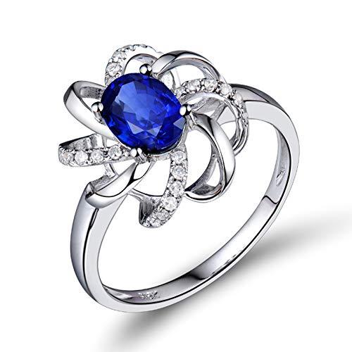 AnazoZ Anillo Mujer Zafiro,Anillo de Compromiso Mujer Oro Blanco 18K Plata Azul Flor con Oval Zafiro Azul 1ct Diamante 0.12ct Talla 21