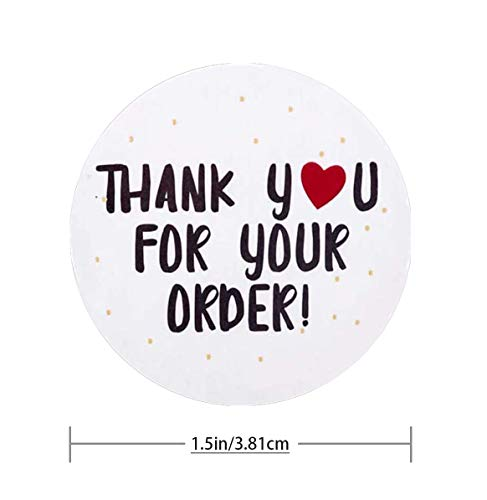 500 Pieces Thank You Label, Thank You for Your Order Stickers Round Circle Label Stickers Thank You Decorative Stickers for Envelope Bag Seals Party Supplies (White Heart Labels) Photo #2