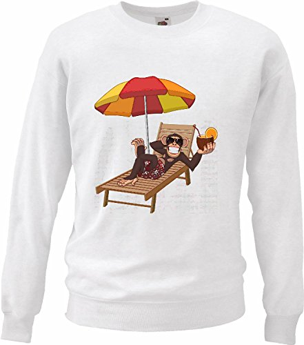 Pullover met capuchon, grappig eendelig met cocktail van kokosnoot en hangmat Monkey King Kong in wit