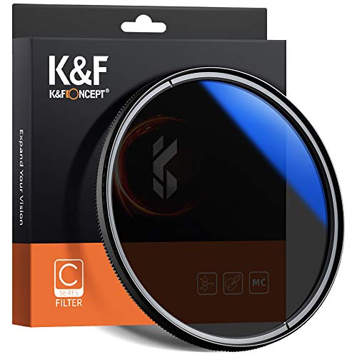 K&F Concept 62mm Circular Polarizer Filter with Japan Optical Glass, Ultra-Slim, Blue Nanometer Multi Coated CPL Camera Lens Filter