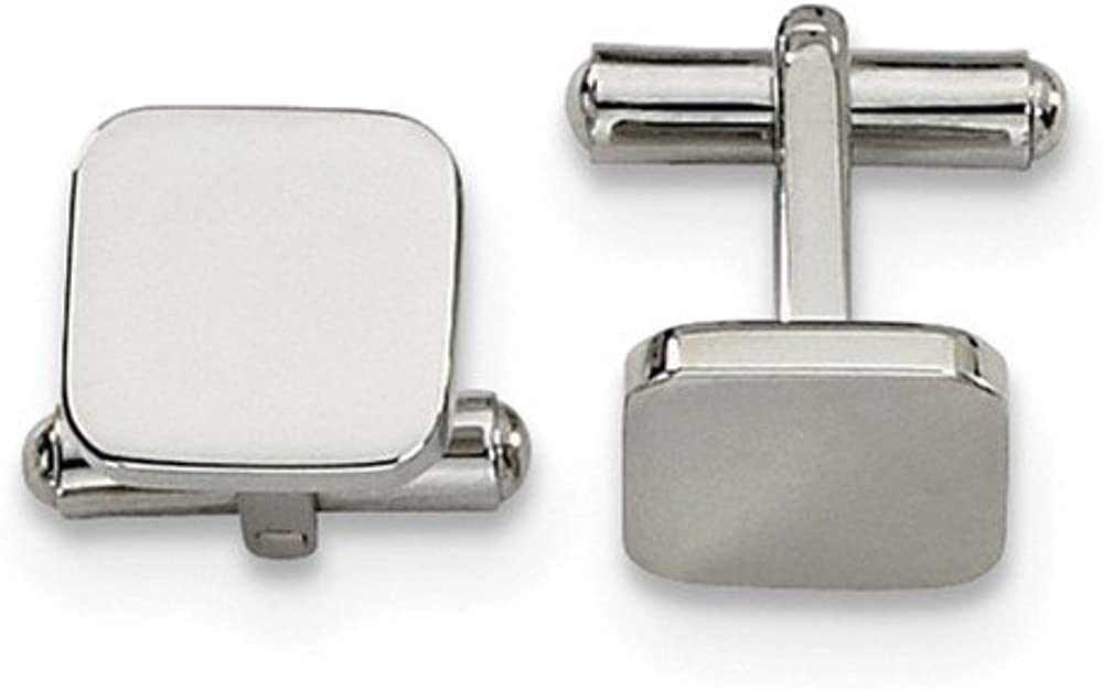 Black Bow Jewelry Men's Stainless Steel Polished Square Cuff Links, 13mm