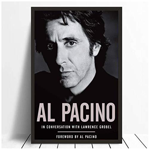 Al Pacino actor estrella de cine póster en blanco y negro impresiones lienzo cuadro de pared para la decoración de la habitación del hogar 20x28 pulgadas 1 Uds sin marco