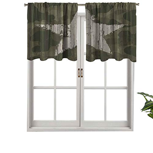 Small Kitchen Window Curtains Valances Southwestern Military Print Patriotic Star Khaki Cream Man Cave Wall, Set of 1, 36'x18' for Kitchen Bathroom and Cafe