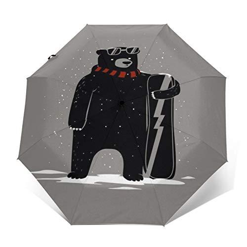 TISAGUER Paraguas automático de apertura/cierre,Imagen de dibujos animados lindo de un oso negro con una bufanda gafas sosteniendo una patineta en la nieve,Paraguas pequeño plegable a prueba de viento