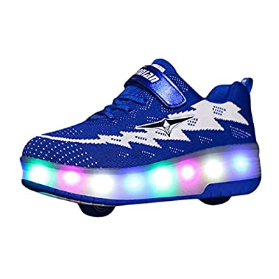 XBKPLO LED Fashion Sneakers Kids Girls Boys Light Up Wheels Skate Shoes Comfortable Mesh Surface Roller Shoes Thanksgiving Christmas Day Best Gift