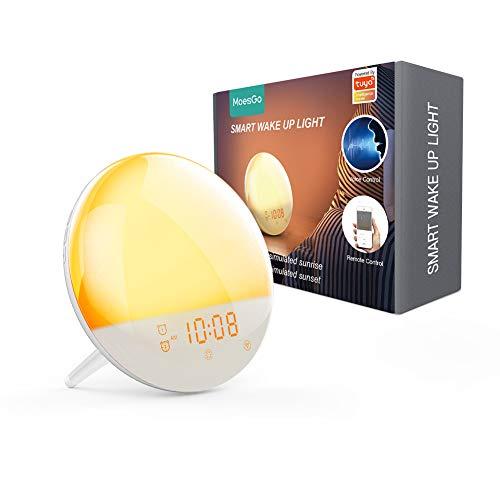MoesGo Smarter WLAN fähiger Lichtwecker der 2.Generation mit 7 Farben, simuliert Sonnenauf und Sonnenuntergang,4 Wecker, UKW Radio, Schlummerfunktion, Nachtlicht, kompatibel mit Alexa und Google Home