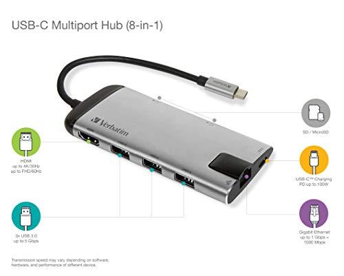 Verbatim USB-C Multiport-Adapter mit USB 3.0 - HDMI, 4K, SD/microSD, Schnellladeanschluss für Laptop und MacBook, grau