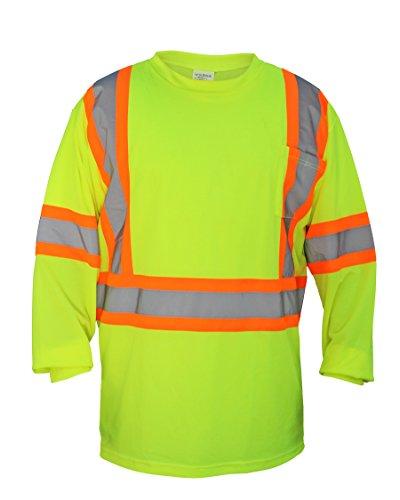 SAS seguridad 690–1609alta visibilidad clase 2manga larga camiseta, grande, color amarillo