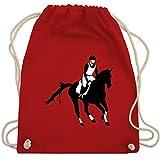 Pferde Geschenk und Reiten Zubehör - Vielseitigkeitsreiten - Unisize - Rot - reitjacke mädchen - WM110 - Turnbeutel und Stoffbeutel aus Baumwolle