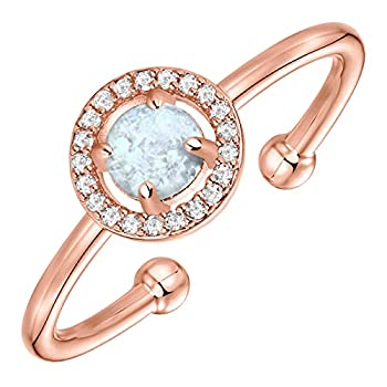 PAVOI 14K Gold Plated CZ and Created Opal Ring Promise Rings