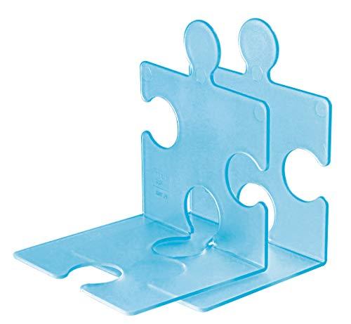 Han, CD-standaard/boekensteun puzzel, chique, innovatief en zeer stabiel. Kan naar wens aan elkaar worden gekoppeld, set van 2 stuks. doorschijnend blauw