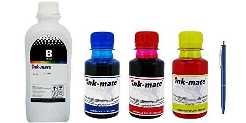 Ink-Mate Recambio de botella de tinta compatible para HP, 1 C2P23AE 1000 ml negro, 1 C2P24AE 100 ml cian, 1 C2P25AE 100 ml magenta, 1 C2P26AE 100 ml amarillo y bolígrafo Schneider