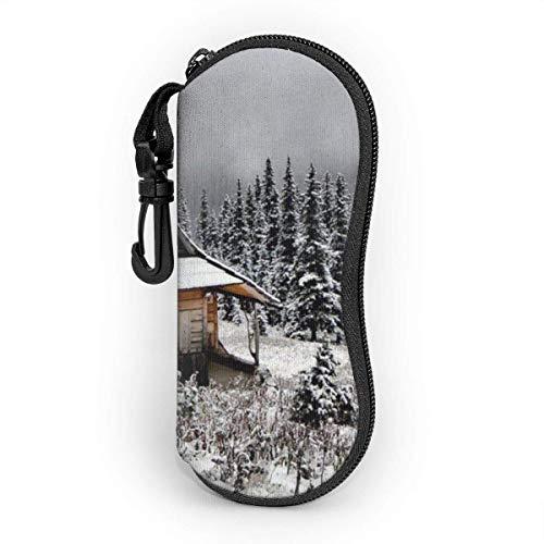 SDFGJ Estuche para gafas suave con mosquetón, estuche portátil para gafas de sol Winter Cabin House Mountain Snow