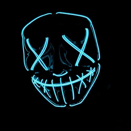 Masque LED La Purge® | Nightmare Bleu | Qualité Premium | Plastique Rigide | 3 Modes de Clignotements | Masque LED | Cosplay | Halloween | Néon | 100% Horreur | 100% Fun