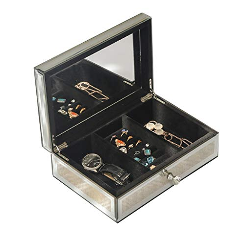 Joyas Caja Caja de joyería de Cristal Organizador Joyas de Alta Gama de Lujo Caja de Almacenamiento de Casas de Regalo de Boda Luz de Lujo de Lujo Estilo Europeo Regalo de niña