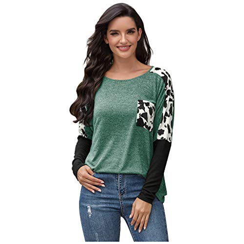 Pullover Damen Tumblr Rundhals Longpullover Leopardenmuster Freizeit Shirt Frau Loose Casual Farbverlauf Sweatshirt Long Top Oversize Oberteile Langarmshirt (L, Grün)