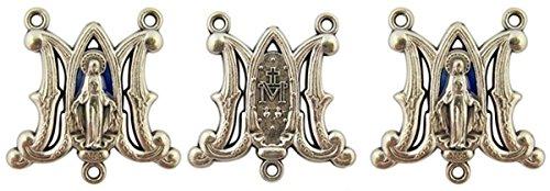 Medalla milagrosa de Ave María en tono plateado con esmalte azul, centro de mesa, lote de 3, 2.5 cm