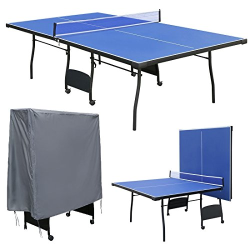 Hyner 9ft Folding Table Tennis Table Ping Pong Table Set With Waterproof Cover Outdoor Indoor Blue