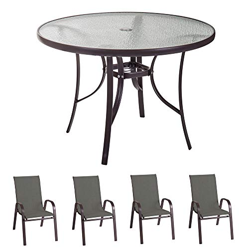 Conjunto de Mesa de diseño Redondo y 4 sillas de jardín marrón de Acero y Cristal - LOLAhome