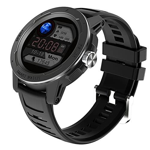 HQPCAHL Reloj Inteligente para Hombre Smartwatch Pulsómetros IP68 A Prueba De Agua Reloj Digital con Step Calories Monitor De Sueño, Reloj De Fitness con iOS Android,Negro