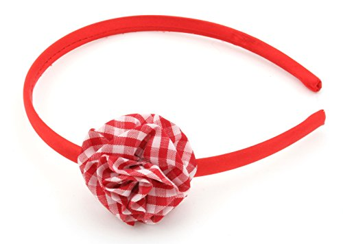 Zest Satin Alice Band with Check Print Flower Red by Zest