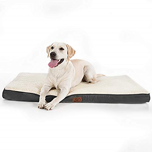 Bedsure Orthopedic Dog Mattress (L, 91.5 x 68.6 x 7.6cm) for Small, Medium, Large Pets Up To 34 KG - Foam Dog Bed Cushion Pillow/Mat with Plush Sherpa Top - Washable Cover - White