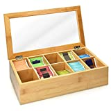 Navaris Bamboo Tea Box - Chest Organiser with 10 Compartments for Tea Bags - Wooden Case Container with Transparent Lid for Individual Tea Bag Storage