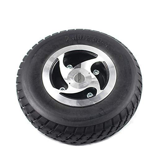PLEASUR Rueda de neumático sólido de 9 '2,80/2,50-4 Neumático no Inflable + Cubo Tipo chavetero para Scooter de Gas/eléctrico ATV Scooter de Movilidad para Ancianos