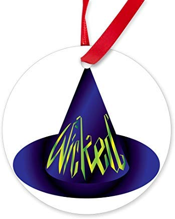Wicked Witch Hat Ornament (Round) Novelty Chrismtas Ornaments,Christmas Tree Decoration Ornaments, for Women Kids Girls