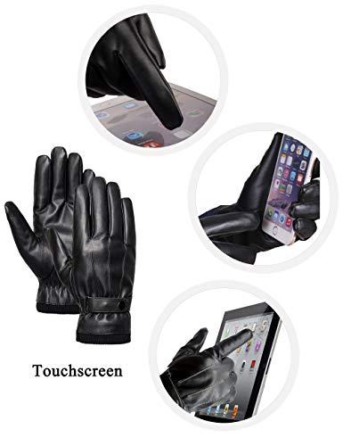 Sankuu Men's Winter Black Leather Gloves 2