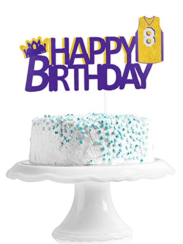 Basketball Happy 8th Birthday Cake Topper - Los Angeles Lakers Basketball Party King Crown Glitter Cake Décor - Game Day Party Boy's Eight Years Old Party Decoration