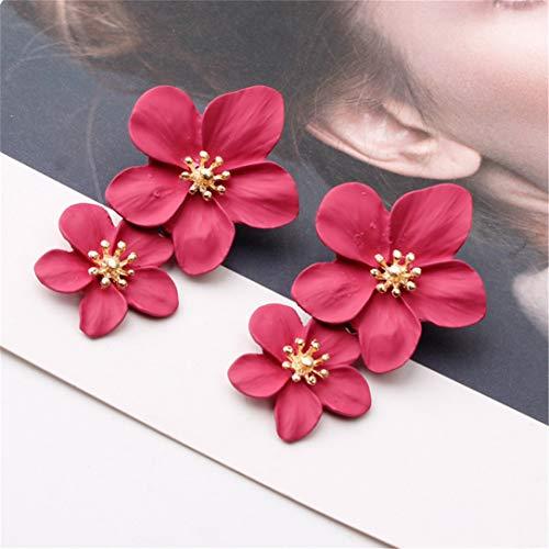 GHJUU Pendientes grandes bohemios con diseño de flores dobles, para verano, playa, fiesta, metal, para mujer, regalo de cumpleaños, color rojo rosa