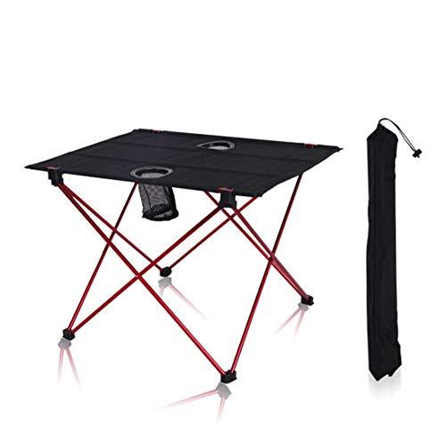 Mesas Plegables al Aire Libre Sillas Mesa portátil de Aluminio Ligero de Tela Oxford Camping Barbacoa Mesa de Picnic,Rojo