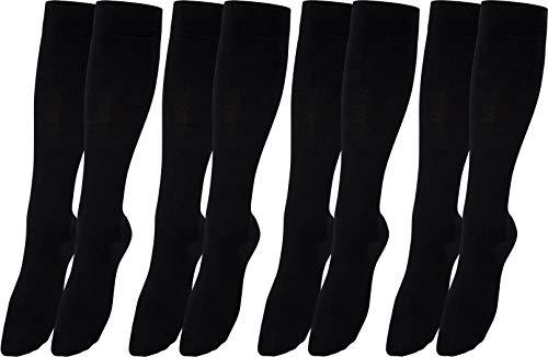 RS. Harmony Stützkniestrümpfe mit Kompression für lange Flug-reisen und Auto-fahrten sowie für's Büro, Thrombose Socken und Stützstrümpfe gegen geschwollene Beine, 4 Paar, schwarz, 47-50