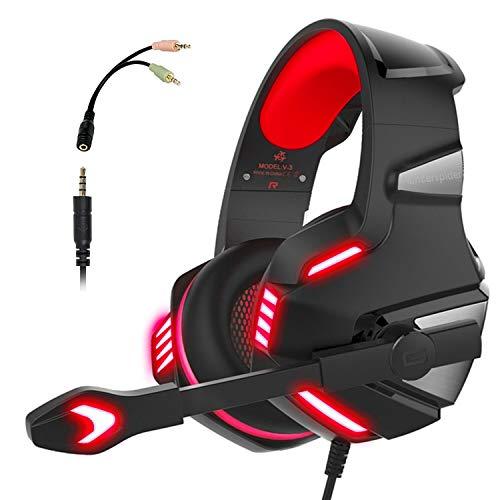 Audífonos Gamer con Micrófono para PS4 Xbox One PC, Diadema Auriculares Alámbrico Estéreo para Juegos…
