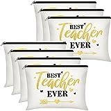 7 Pieces Teacher Appreciation Gifts Teacher Survival Kit Makeup Bag Personalized Cosmetic Case Travel Toiletry Bag Teacher Pencil Pouch Teacher Supplies for Elementary High School (Simple Pattern)