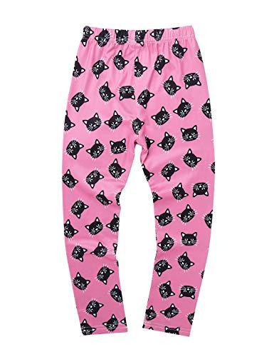 YiZYiF Pantalones Largos Leggins Niñas Leggings Básicos Medias Cintura Elástica Pantalones Estampados para Vestido Faldas Niñas 3-12 Años Rosa Gatos 3-4 Años
