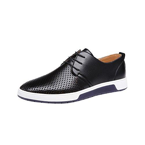 Patifia Schuhe Herren, Sommer Stil Herren Sommer Einfarbig Breathable Business Lederschuhe Leisure Hollow Vollleder Schuhe Uniform Schuhe Berufsschuhe Alle Jahreszeiten