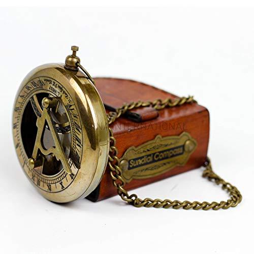 Nagina International Messing Sonnenuhr Kompass Mit Kette & Handgenähtem Ledertasche | Antikes Sammlerstück Schönes Geschenk | Sonnenuhr (Bronze Messing)