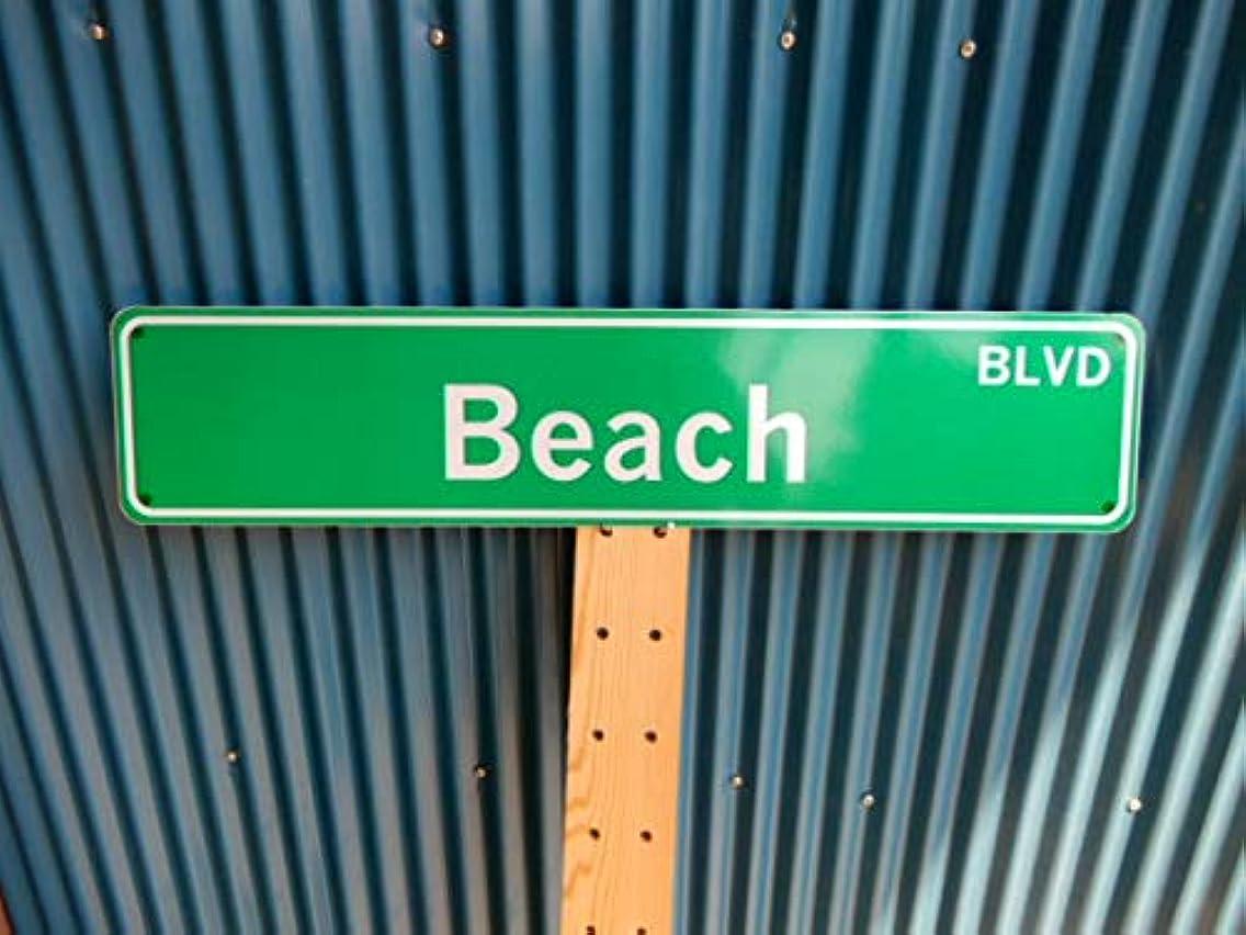 テクスチャー冗談でどこにもアメリカ ストリートサイン Beach BLVD レプリカサインプレート USA LA カリフォルニア 通り名 住所表記 標識