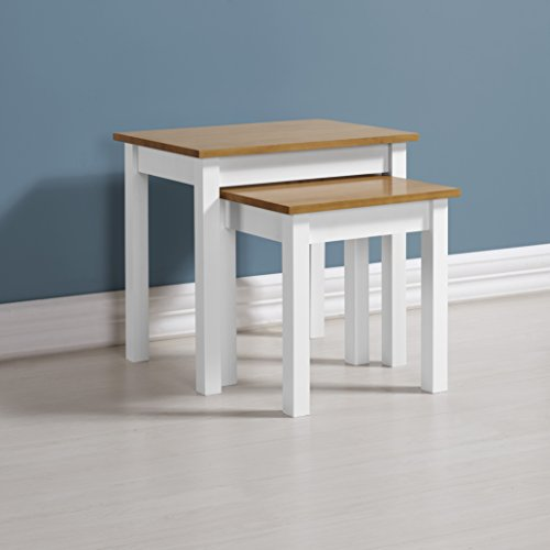Seconique Ludlow Nest of Tables, Pine Wood, White and Oak, One Size