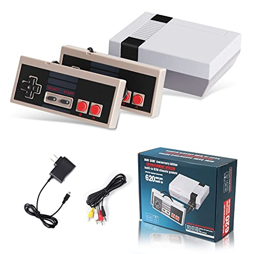 Classic Mini NES Retro Video Game Console with Preloaded 620 Games with 2 Controllers, Plug and Play 8-bit Video Game Entertainment System and AV Output for Kids, Adult, Valentine Gift
