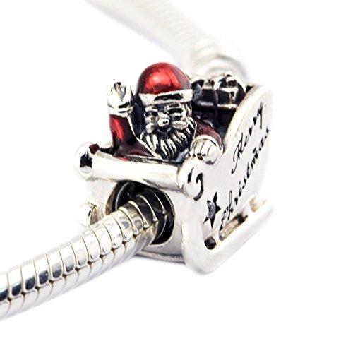 bakcci Sleighing de regalo de Navidad Papá Noel Charm cuentas plata de ley 925encaja para Original pulseras DIY Jewelry Making