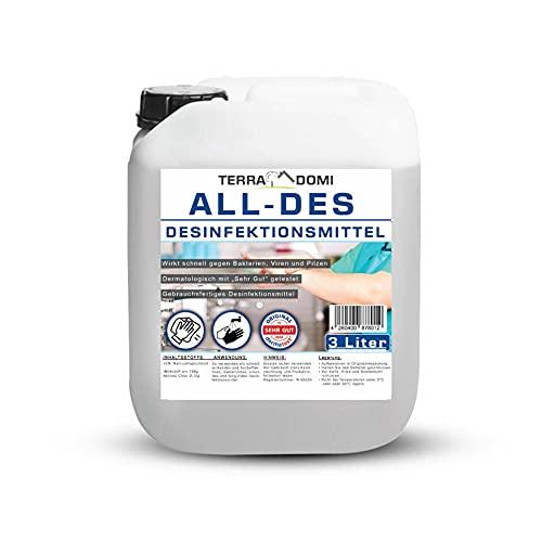 TerraDomi All-Des 3 Liter schnell Desinfektionsmittel ohne Parfüm für Hände und Flächendesinfektion, PT1 zugelassen in der EU, Made in Germany