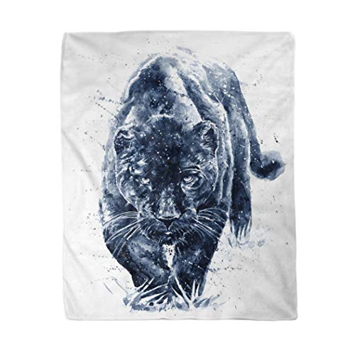 rouihot 60x80 Inches Throw Blanket Beautiful Panther Watercolor Painting Predator Animals Jaguar Big Black Warm Cozy Print Flannel Home Decor Comfortable Blanket for Couch Sofa Bed