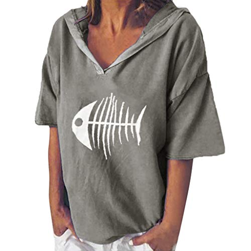 POPLY Bluse Shirt für Damen Frauen Einfach Kurzarm Hoodie Beiläufige Kapuzenpullover V-Ansatz Fisch Knochen Gedruckte mit Kapuze Oberseiten T-Shirt (Grau,XXL)
