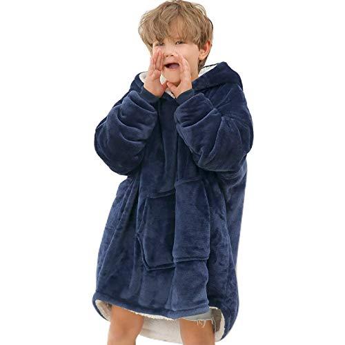 xiaoxioaguo Invierno cálido mantas con mangas Invierno sudaderas mantas TV mantas de microfibra suéter de gran tamaño para niños suave chaqueta con capucha