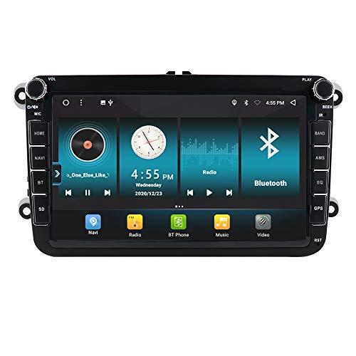 Radio estéreo de 8 Pulgadas GPS para Coche 2 + 32GB con Andorid 10 Compatible con Volkswagen Skoda Seat Support Carplay Bluetooth WiFi Control del Volante
