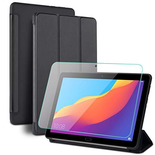 Oududianzi - Smart Cover per Huawei MediaPad T5 10 10.1 + Vetro Temperato, Tripla Custodia Pieghevole con Funzione di Supporto & Auto Svegliati/Sonno, Fodera in Microfibra + Silicone Morbido - Nero